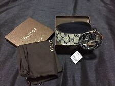 NWT Authentic Gucci Men's Beige/Blue Plus Blue Leather Trim Belt 114984 KGD1R