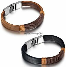 Fashion Simple Multi-layer Rope Winding Mens Scalp Rope Bracelet Black/Brown