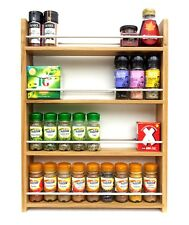 SOLID OAK SPICE RACK 4 TIERS OPEN TOP DEEP SHELVES KITCHEN STORAGE WALL WORKTOP