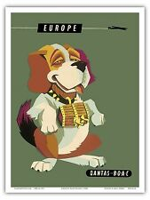 Europe Saint Bernard Dog Vintage Airline Travel Art Poster Print