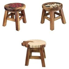 Kids Childs Small Wooden Stool Chair Seat with Hand Painted Animal Designs