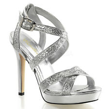 "PLEASER Shoes Sexy Strappy Criss Cross Silver Glitter Sandals 4 3/4"" High Heels"