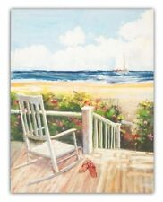 """Canvas Print - French Country Vintage Inspired Picture Wall """"Deck Chair Beach"""""""