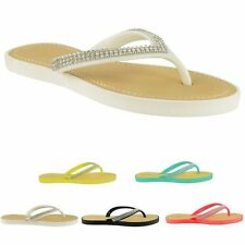 LADIES WOMEN FLAT TOE POST FLIP FLOP DIAMONTE SANDAL, BEACH OR CASUAL WEAR NEW