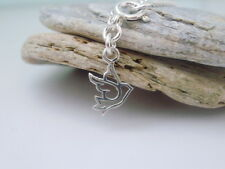 Sterling Silver Dove Charm Anklet, Bird, Peace Charm Ankle Bracelet, Ankle Chain