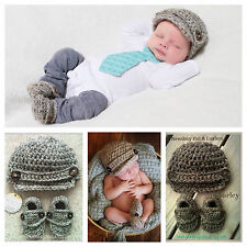 BABY BOY Newsboy Hat & Loafers Set Newborn Shower Gift Crocheted Booties Shoes