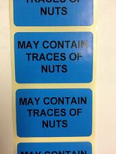 Rolls of Printed Personalised BLUE NUT ALLERGY  FOOD SAFETY Labels - 38mm x 25mm