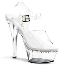 "PLEASER KISS208LS/C/M Sexy Clear Platform Rhinestone 6"" Pole Dancing High Heels"
