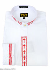 NEW Men's White w/ Red Cross Embroidery Neckband Clerical Clergy Shirt, Pastor