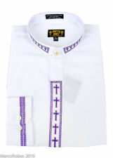 NEW Men's White w/Purple Cross Embroidery Neckband Clerical Clergy Shirt, Pastor