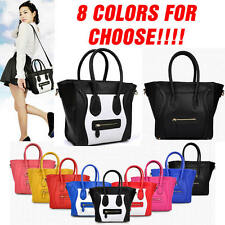 Womens OL Ladies Designer PU Leather Celebrity Smile Tote Shoulder Bag Handbag