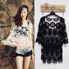Sexy Women Summer Beach Cover Up Batwing Crochet Lace Knit Tops Shirt Blouse NEW