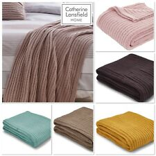 Catherine Lansfield Chunky Knit Throw / Bedspread  6 Colours