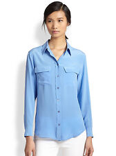 NEW Equipment Signature washed Silk Blouse Shirt top hydrangea blue XS/S/M $208