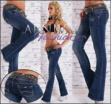 NEW LADIES JEANS + belt XS S M L XL shop online WOMENS BOOT CUT DENIM JEAN PANTS