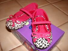 NEW BABY TODDLER GIRLS BLACK WHITE LEOPARD PINK SLIP ON SHOES CANDY COAST SZ 8,6