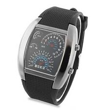 Blue/Blue&White LED Flash Light RPM Wrist Watch Black Rubber Band Analog Gift
