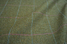 Tweed material by the metre in green with pink and blue windowpane fabric