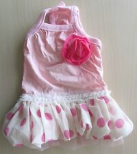 Cute Little Pink Dot Dog Dress Pet Clothing Size  XS S M L XL for SMALL dog ONLY