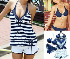Hot New Women 4PCS Halter Padded Bra Swimsuit Tankini Bikini Swimwear Set Blue