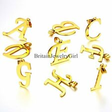 Gold Tone Stainless Steel Mens Womens Script Initial Letter Pendant Necklace