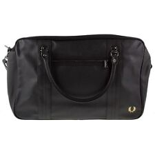 New Mens Fred Perry Black Scotch Grain Overnight Pu Bag Holdalls
