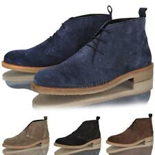 MENS LEATHER SUEDE DESERT ANKLE BOOTS CASUAL BOYS LACE UP CLASSIC SHOES SIZE