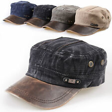 New Mens Cadet Military Hat/Cap Trucker Hat Visor Unisex Black Brown