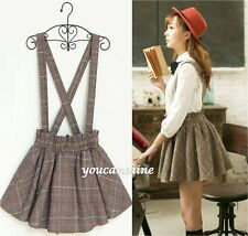 New Retro Womens Long Braces Suspender Dress Plaid Flared Overalls Pleated Skirt