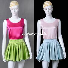 Womens Girls 100% Silk Mini Skirts 1080° Circle Dual Side Wearing AF631