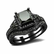 2Ct. Black Princess Cut Solitaire Engagement Wedding Bridal Ring Set-Sz 8/9