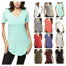 USA Women Soft Modal V-Neck Top Casual Long Short Sleeve Tunic Solid T-Shirt