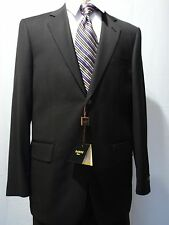 Baroni Suit, Two Button,100% Wool , Solid Black, NWT
