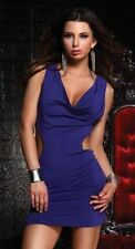 F-882678 Sexy Purple Plunging Cowl Neck Lower Exposed Side & Back Mini Dress
