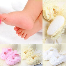 Sweet Baby Girls Non-Slip Newborn Infant Baby Toddler Lace Frilly Flower Shoes