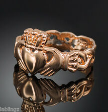Rose Gold Ladies Claddagh Ring with Celtic Band (USA)