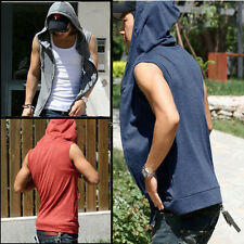 NEW Mens Beach sport Casual Slim Fit Hoody sleeveless T-shirt Vest Tops