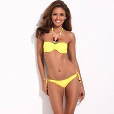 Adjustable Bikini Suit Cheap Girl Bandeau Bra Two-Piece Swimwear Halter Swimsuit