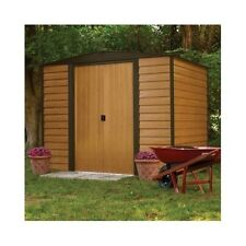 Garden Storage Shed Steel Frame Plank Siding Double Door Metal Building Kit New