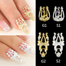 10x Glitter Alloy Hollow Out 3D Nail Art Sticker Slices DIY Nail Jewelry Beauty