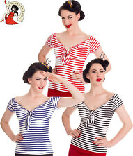Hell Bunny 50s Stile Dolly NAUTICO Stripe Jersey Rockabilly TOP