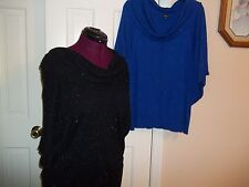 RAFAELLA LADIES SIZE XL PULLOVER COWL NECK SWEATER ROYAL BLUE OR BLACK BAT WING
