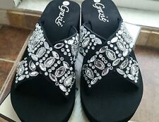 GORGEOUS BLACK RHINESTONE JEWELS GRAZIE PECAN WEDGE SANDALS FLIP FLOPS SHOES
