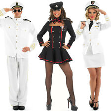 Mens Ladies Naval Officer Fancy Dress Costume Navy WW2 30s 40s Commander Outfit