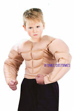 Boys Padded Muscle Chest Suit Arms Childrens Muscular Shirt Costume Kids Child