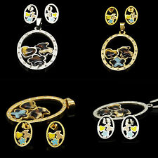 Stainless Steel Ellipse Leopard Print Bear 2 colors pendant& Earring SET