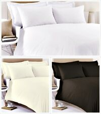 PLAIN DYED LUXURY EGYPTIAN COTTON BEDDING SETS FITTED/DUVET COVER & PILLOW CASES