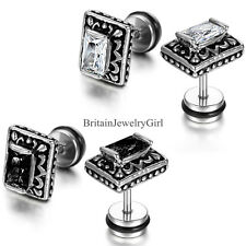 Vintage Gothic Square Shape Stainless Steel Cubic Zirconic Mens Stud Earring