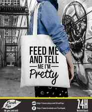 Feed Me And Tell Me I'm Pretty Rihanna Celine Shopping Cotton Tote Bag Handbag