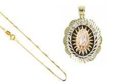 """14k Gold Tricolor,Mis 15 Amos Quinceanera Virgin Mary,Pendant,18"""" Gold Box Chain"""